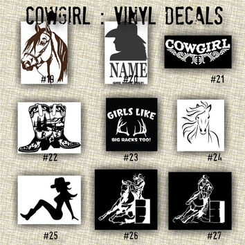 COWGIRL vinyl decals | country western | country girl | car decals | car stickers | laptop sticker - 19-27