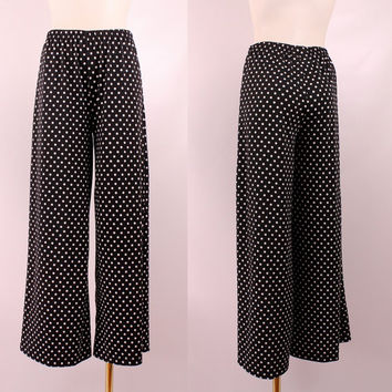 Vintage 90s - Slinky Stretch Black & White Polka Dot - High Waist - Wide Leg Palazzo Pants