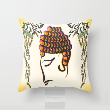18x18 inches Decorative Throw Pillow Cover. Vibrant colorful Buddha Cushion Cover. 18 inch. Double sided
