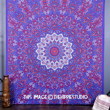 Psychedelic Star Mandala Tapestry Wall Hanging, Hippie Boho Wall  Tapestries, Indian Bedspread Bohemian Room