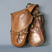 SWISS ARMY Panniers 1912, Military Leather Packsaddle Bags, Connected Horse Cavalry or Condor A350 Motorcycle Bags, Made in Switzerland