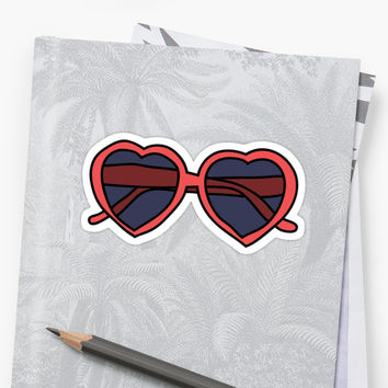 'Heart Glasses' Sticker by Emily Curtis