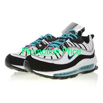 Genuine Authentic Nike Air Max 98 South Beach 640744-005 Men White Pink Kinetic Green Black fashion shoe