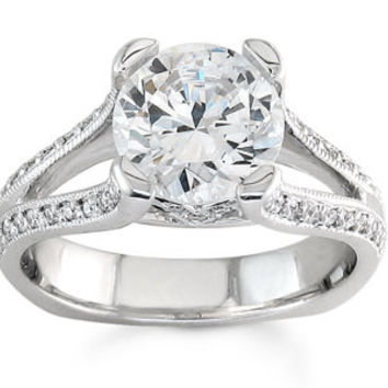 Ladies 18kt white gold pave diamond split band engagement ring 0.25 ctw G-VS2 diamonds with 2ct Round white sapphire