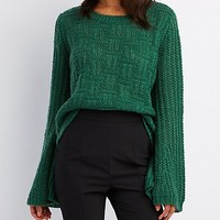 Bell Sleeve Pointelle Sweater | Charlotte Russe