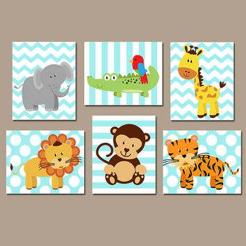 SAFARI Animal Wall Art, Baby Boy Animal Nursery Artwork, Zoo Jungle Animal Theme, Boy Bedroom Pictures, Playroom CANVAS or Prints, Set of 6