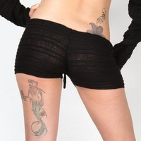 Drawstring Sexy Stretch Knit Low Rise Shadow Stripe Shorts by KD dance New York