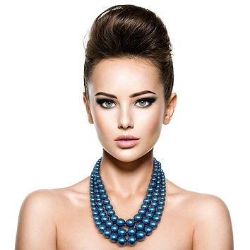 Silver with Navy Blue Graduated Pearl 3 Strand Layered Necklace Set