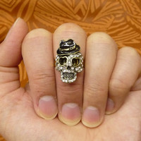 A skull mult-task ring, above knuckle ring, adjustable finger ring,stackable ring, toe ring, little finger ring