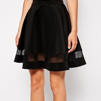 ASOS Skater Skirt In Scuba With Sheer Panel - Black