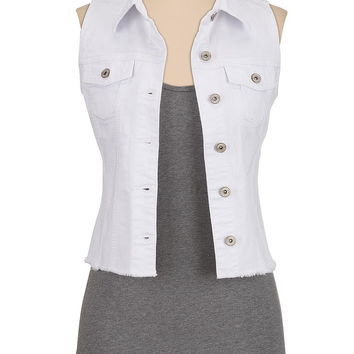 white destructed denim vest