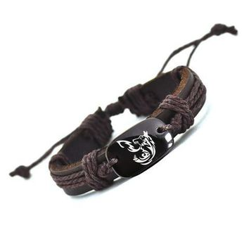 Personality Dog Leather Bracelet for Men and Women