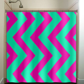 aqua magenta pink vertical chevron shower curtain bathroom decor fabric kids bath white black custom duvet cover rug mat window