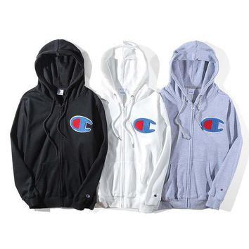 Champion Fashion New Bust Big Logo Women Men Hooded Long Sleeve Sweater Coat Top