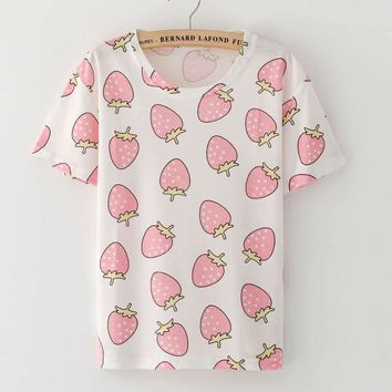 New brand YANMUXI Fashion 2017 Summer T Shirt For Women ice cream Harajuku Fruit Strawberry Print Harajuku Brand Women Tee Tops