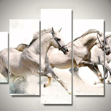 3 White Horses 5-Piece Framed Wall Art Canvas Horse Art
