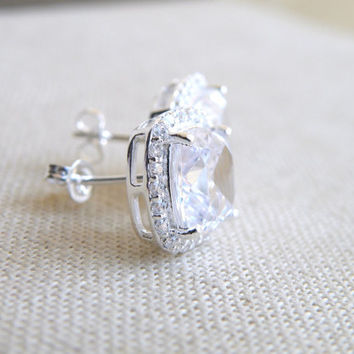 Cushion CZ Halo Rhinestone Stud Post Silver Earrings IEC1PP