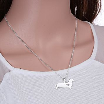 handmade  animal pendant necklace fashion silver plated daschund dog necklace