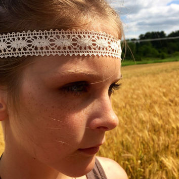 Boho style headband, lace headband, baby headband, halo crown headband, infant headband, teen headband, braid headband, girls headband