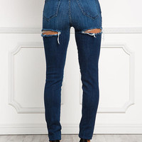 Denim Front & Back Slit High Rise Jeans