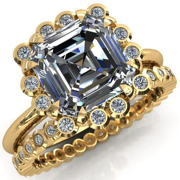 Paige Asscher Moissanite Diamond Halo Ring