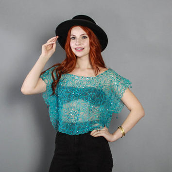 70s SHEER Beaded CAFTAN Top / 1970s Ethnic EMBROIDERED Turquoise Floral Crop Blouse