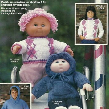 Matching Sweaters for Kids and Dolls to Knit Pattern Book
