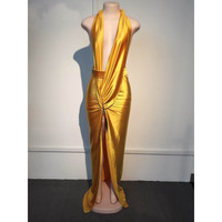 Sexy Gold V Neck Plunge Party Dress