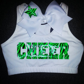 Neon Zebra OR Glitter Cheer Sports Bra with Matching Bow