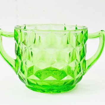 Green Sugar Bowl, Jeannette Cubist Sugar Bowl, Vintage Green Depression Glass, Translucent Green Glass, Vintage Sugar Bowl, Cream and Sugar