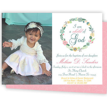 Pink Photo Baptism Invitation for Girl - Laurel Girl Baptism Invitations - Elegant Child of God -  Spring Baptism Communion Christening