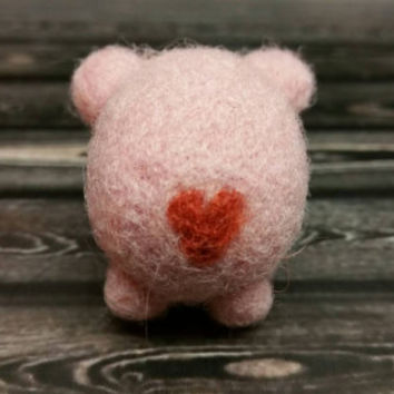 Popcorn Pink Bear with Heart - Tiny Needle Felted Pink Bear -Needle Felting Sculpture  - Soft Animal - Handmade Art