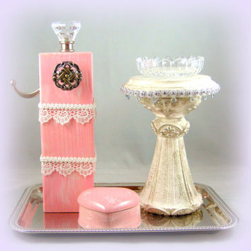 Shabby Chic Jewelry Display ~ One of a Kind Jewelry Display Storage ~ One of a Kind Jewelry Display ~ Pink and White Jewelry Display