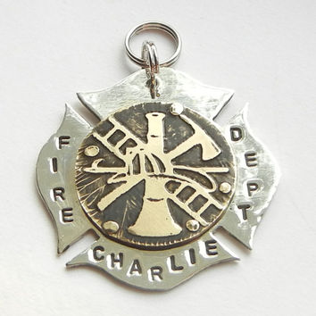 Maltese Cross FIREFIGHTER FIREMAN BADGE dog pet tag id. Unique pet tag handcrafted in brass and nickel silver.