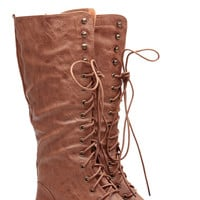 Tan Faux Leather Hyped Up Lace Up Combat Boots