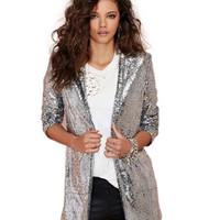 Silver Open Front Sequined Coat