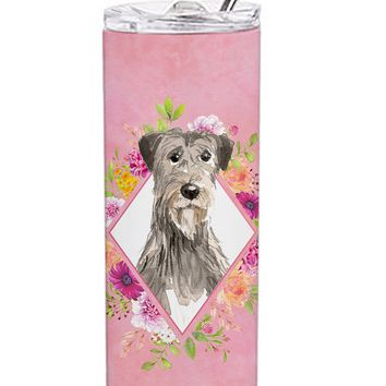 Irish Wolfhound Pink Flowers Double Walled Stainless Steel 20 oz Skinny Tumbler CK4231TBL20