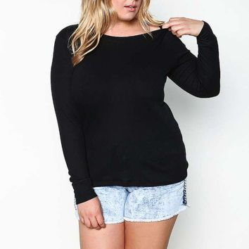 PLUS SIZE THERMAL KNIT TOP