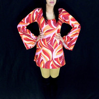 Vintage 60s Mod Psychedelic Shiny Stretch Polyester/Lycra Bell-Sleeve Fitted Mini Dress S // M