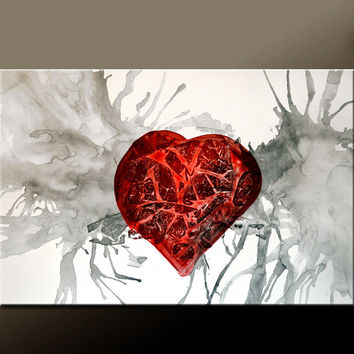 Abstract Canvas Art Painting 36x24 Original Contemporary Paintings by Destiny Womack - dWo - All The Pieces of my Heart