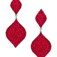 Stefanie Somers Silver And Red Swarovski Elements Sophia Drop Earrings