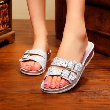 Summer Jelly Lady's Women Beach Sandals Slippers Shoes Flats Low-Heeled Fashion