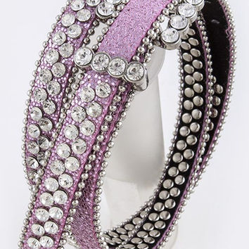 Leather Pink Rhinestone Studded Skinny Belt