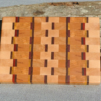 End Grain Cutting Board, Butcher Block, Wood Cutting Board-- Maple, Birch, Beech with Exotic Hardwoods