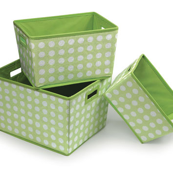 Badger Baskets Nesting Trapezoid 3 Basket Set (Sage Polka Dots)