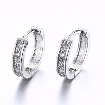Swarovski Crystal Huggie Earring in White Gold Plated