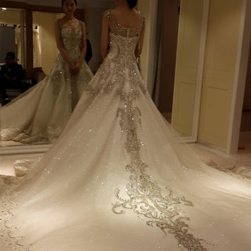 vestido de noiva 2016 Newest Luxury Wedding Dresses With Crystal Bead A Line Royal Train Lace Bling Custom Ivory Bridal Gowns