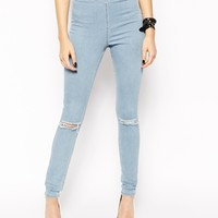 ASOS Jameson High Waist Denim Jeggings in Distressed Light Wash Blue W