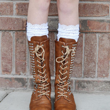 Lace Boot Cuffs - Faux Lace Boot Socks - Faux Lace Leg Warmers - Lace Boot Topper - Boot Topper - Faux Knee High Sock - Womens - White