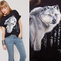 Vintage WOLF Tee Shirt Black Cotton Shirt Medium/Large Unisex Animal Print Canadian T-shirt